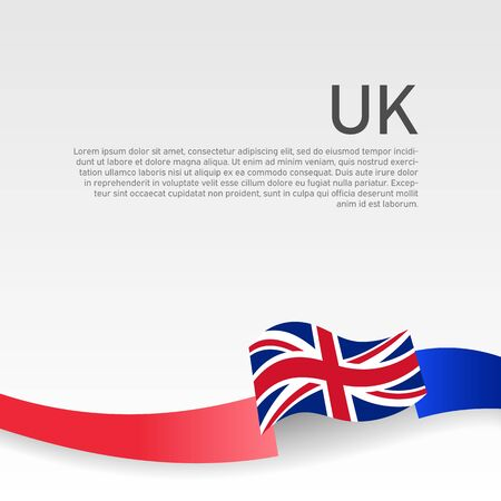 Great Britain flag background. Wavy ribbon color flag of great britain on a white background. National poster of the united kingdom. Vector design. United Kingdom state patriotic cover, flyer