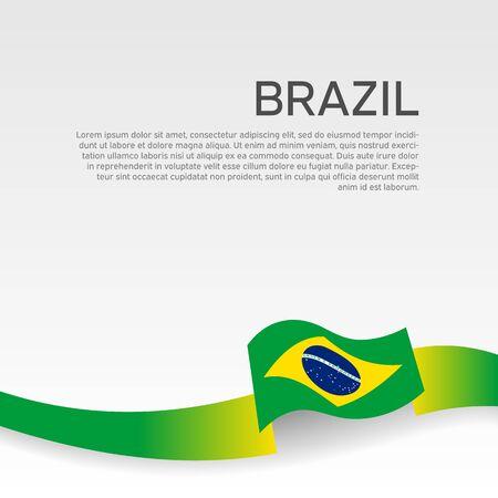 Brazil flag background. Wavy ribbon color flag of brazil on white background. National poster. Vector banner design. State patriotic flyer, cover