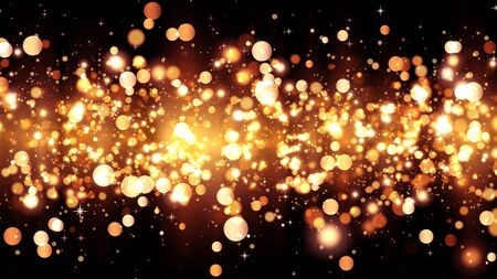 Background with golden glitter particles. Beautiful holiday background template for premium design. Bright gold particle with magic light Stock fotó