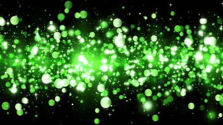 Background with green glitter particles. Beautiful holiday background template for premium design. Bright green particle with magic light Stock fotó