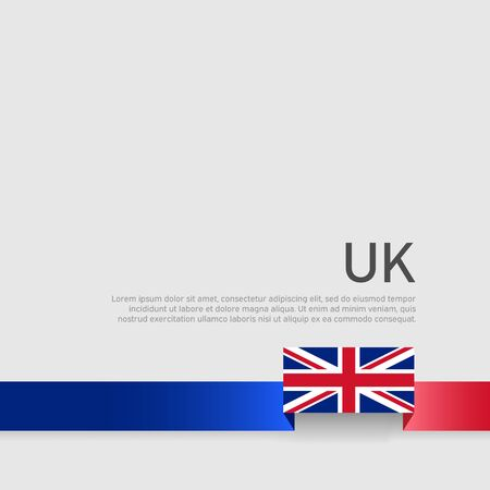 Great Britain flag background. Ribbon colors of the flag of great britain on a white background. National poster of the united kingdom. Vector flat design. United Kingdom state patriotic banner, cover