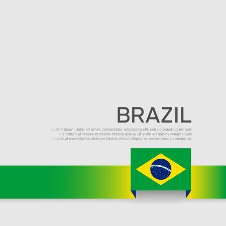 Brazil flag background. Ribbon color flag of brazil on white background. National poster. Vector flat banner design. State patriotic flyer, cover