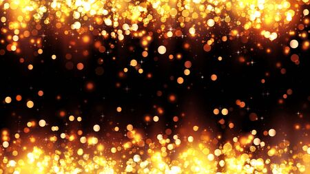 Frame of bright golden particles with magic highlights. Background with golden glitter particles. Beautiful holiday background template for premium design