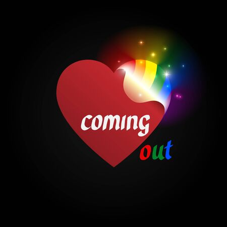 Concept coming out LGBT - opening heart glows with rainbow colors LGBTQ. Symbol of transgender, lesbian, gay, bisexual. Coming out icon - open rainbow heart. National day. Vector illustration