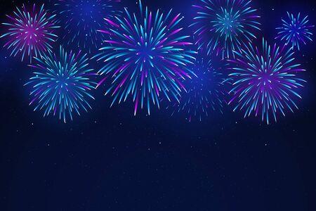 Feux d'artifice colorés sur fond sombre. Feux d'artifice lumineux dans le ciel étoilé de la nuit. Contexte pour la conception festive, fête. Illustration vectorielle