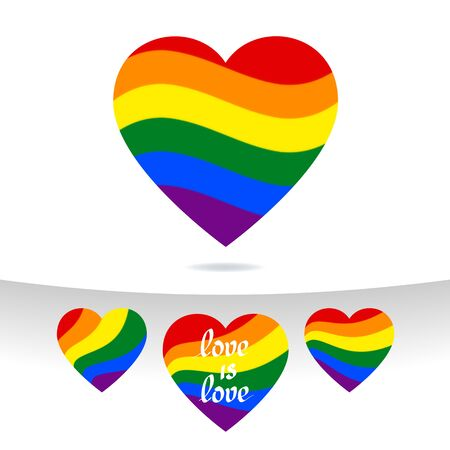 LGBT concept - heart shape in lgbtq flag colors. Icon of transgender gay lesbian love with wavy rainbow lgbt flag. Set of multicolor vector signs. For design t shirts
