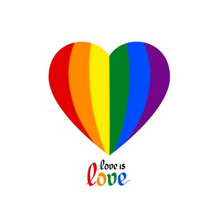 LGBT concept - heart in colors of LGBTQ flag and love is love in the shape of a hot air balloon. Icon of gay lesbian transgender love with rainbow lgbt flag. Colorful vector symbol, design t shirts