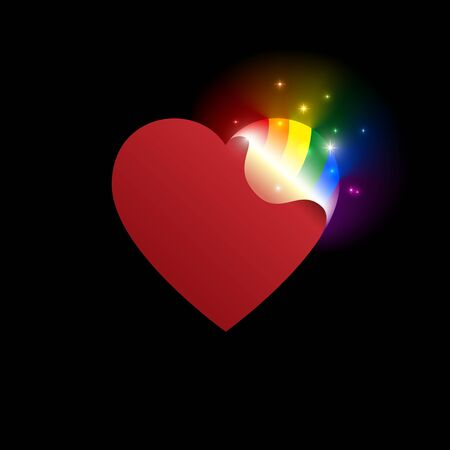 Concept coming out LGBT - opening heart glows with rainbow colors LGBTQ. Coming out icon - open rainbow heart. Symbol of transgender, lesbian, gay, bisexual. National day. Vector illustration Illustration