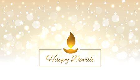Happy diwali vector illustration. Design template with light festive golden background. Festive diwali card. Confetti and bokeh golden background. Vector holiday illustration