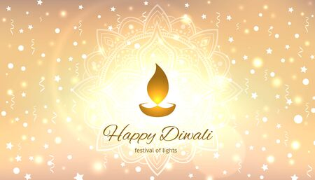 Happy diwali vector illustration. Festive diwali card. Confetti and bokeh golden background with mandala. Design template with light festive golden background. Vector holiday illustration