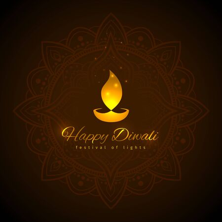 Happy diwali vector holiday illustration. Design template on dark background. Diwali festive card with golden lamp symbol. Dark background with mandala. Vector holiday illustration Illusztráció