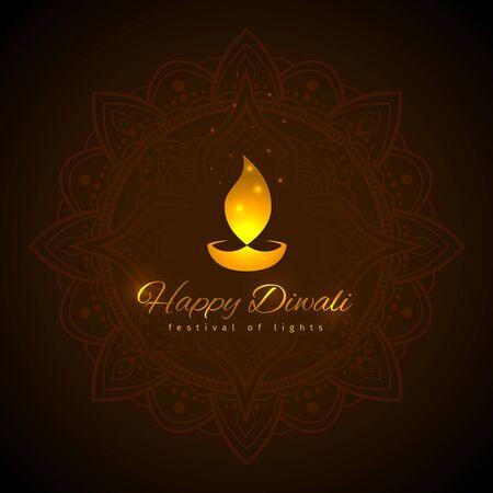 Happy diwali vector holiday illustration. Design template on dark background. Diwali festive card with golden lamp symbol. Dark background with mandala. Vector holiday illustration Illustration