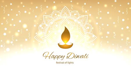 Happy diwali vector illustration. Design template with light festive golden background with mandala. Festive diwali card. Vector holiday illustration. Confetti and bokeh golden background