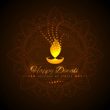Happy diwali vector holiday illustration. Diwali festive card with golden lamp symbol and lights. Design template on dark background. Dark background with mandala. Vector holiday illustration