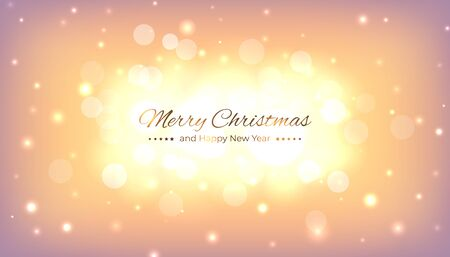 Merry christmas greeting card. Happy new year vector illustration. Bokeh golden christmas background. Design template with light festive golden background. Vector illustration