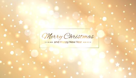 Merry christmas greeting card. Happy new year vector illustration. Design template with light festive golden background. Bokeh golden christmas background. Vector holiday illustration