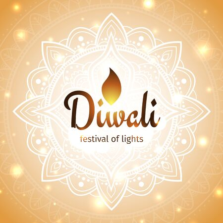Festive diwali card. Diwali vector illustration. Design template with light festive golden background. Shining background with mandala and lights. Vector holiday illustration
