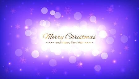 Merry christmas greeting card. Happy new year vector illustration. Design template with festive blue violet background. Bokeh and snowflakes christmas background. Vector holiday illustration Stock Illustratie