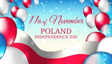 November 11, poland independence day, vector template with the polish flag and colorful balloons on a blue starry background. The national holiday of poland on november 11. independence day Ilustrace