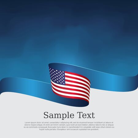 USA flag background. Wavy ribbon color flag of usa on a blue white background. National american poster. Vector tricolor design. State american patriotic banner, cover, flyer 向量圖像