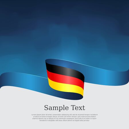 Germany flag background. Wavy ribbon in colors of germany flag on a blue white background. National poster. Vector tricolor design. State germanic patriotic banner, cover, flyer Stock Illustratie