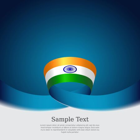 India flag background. Wavy ribbon colors flag of india on blue white background. National poster. Vector design. State indian patriotic banner, cover, flyer