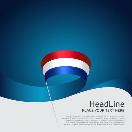 Netherlands flag background. Netherlands flag wavy ribbon on blue white background. National poster. Vector design. State patriotic banner, cover, flyer