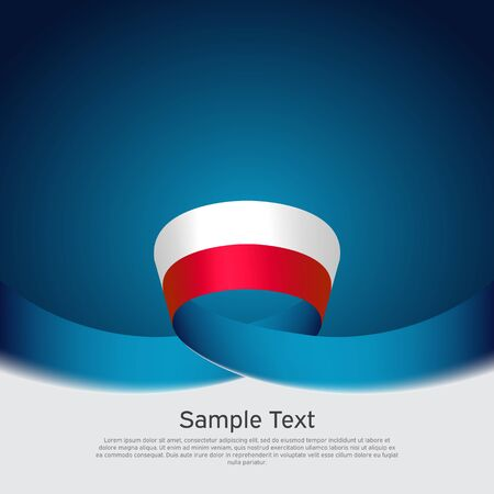 Poland flag background. Wavy ribbon poland flag colors on blue white background. National poster. Polish state patriotic banner, cover, flyer. Vector design