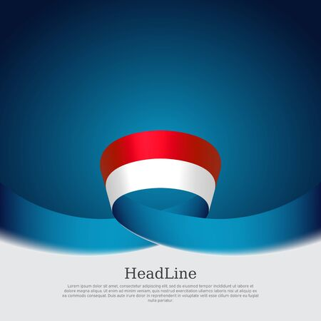 Indonesia flag background. Wavy ribbon indonesia flag colors on blue white background. National poster. Vector design. State patriotic banner, cover, flyer Stock Illustratie