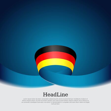 Germany flag background. Wavy ribbon in colors of germany flag on a blue white background. National poster. Vector tricolor illustration. State germanic patriotic flyer, banner, cover Stock Illustratie
