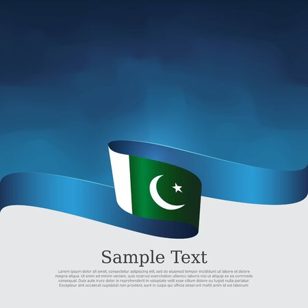 Pakistan flag background. Vector design. Wavy ribbon colors flag of pakistan on blue white background. National poster. State patriotic banner, cover, flyer