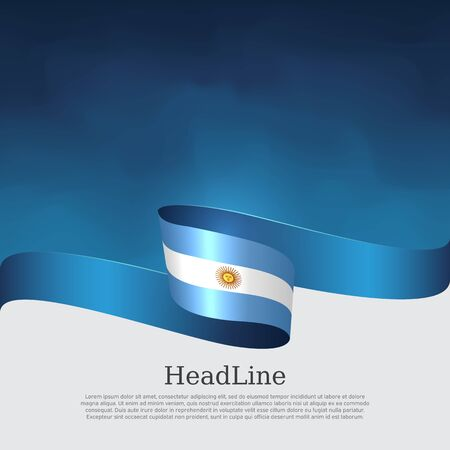 Argentina flag background. Wavy ribbon argentina flag colors on a blue white background. National poster. Vector banner design. State patriotic flyer, cover Stockfoto - 131506673