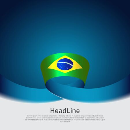 Brazil flag background. Wavy ribbon color flag of brazil on blue white background. National poster. Vector banner design. State patriotic flyer, cover Stockfoto - 131506678