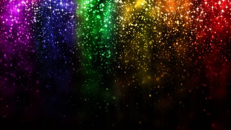 LGBT color festive background with shiny falling particles, rainbow colorful abstract graphic for bright design. Gay lesbian transgender sparkling rainbow bokeh background Stockfoto