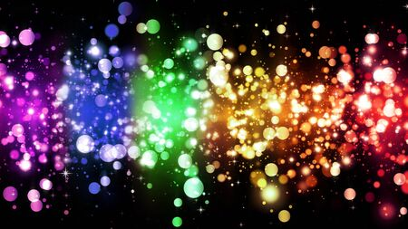 LGBT color bokeh festive background with shiny particles, rainbow colorful abstract graphic for bright design. Transgender gay lesbian sparkling rainbow background Stockfoto - 131506680