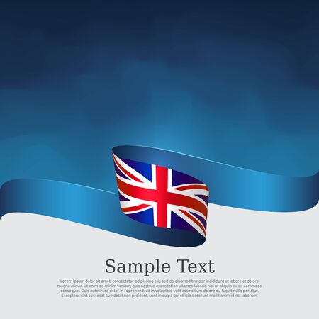 Great Britain flag background. Wavy ribbon color flag of great britain on a blue white background. National poster of the united kingdom. Vector design. United Kingdom state patriotic banner, flyer, cover