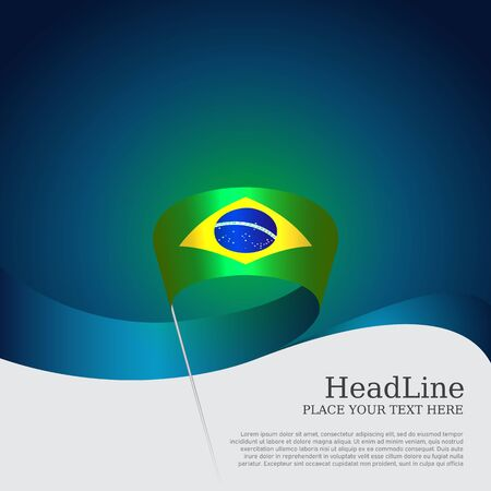 Brazil flag background. Wavy ribbon color flag of brazil on blue white background. National poster. Vector banner design. State patriotic flyer, cover Фото со стока - 131227207