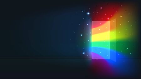 Concept coming out LGBT - LGBT rainbow light from the open door of a dark room. Symbol of lesbian, transgender, gay, bisexual. National coming out day. Open door rainbow shine. Vector illustration Stock Illustratie