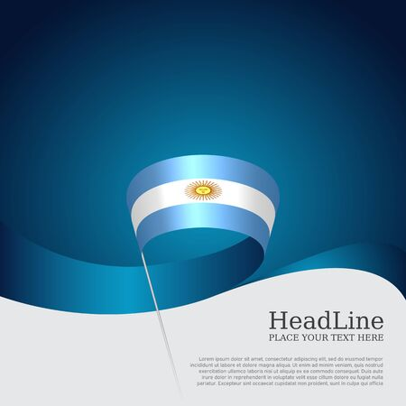 Argentina flag background. Wavy ribbon argentina flag colors on a blue white background. National poster. Vector banner design. State patriotic flyer, cover 版權商用圖片 - 131490141