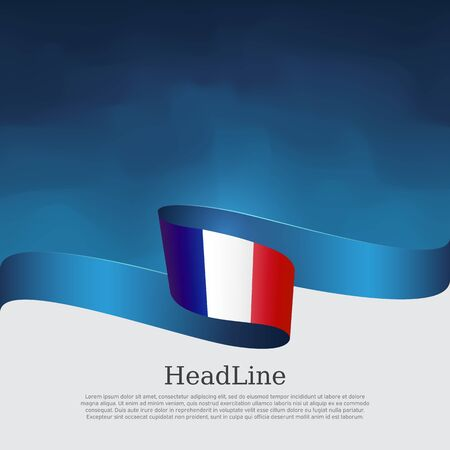 France flag background. Wavy ribbon color flag of france on a blue white background. National poster. Vector tricolor brochure design. State french patriotic banner, cover, flyer