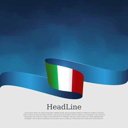 Italy flag background. Wavy ribbon color flag of italy on a blue white background. National poster. Vector tricolor design. State italian patriotic banner, flyer, cover Stock Illustratie