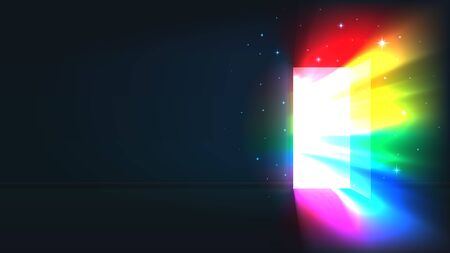 Concept coming out LGBT - LGBT rainbow light from the open door of a dark room. Bright rainbow shines in the open door. Symbol of lesbian, transgender, gay, bisexual. Coming out day. Vector illustration Stockfoto - 134330037