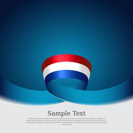 Netherlands flag background. Netherlands flag wavy ribbon on blue white background. National poster. Vector design. State patriotic banner, cover, flyer Stockfoto - 131563221