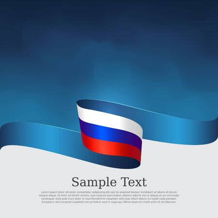 Russia flag background. Wavy ribbon in the color of the russian flag on a blue white background. National poster. Vector tricolor design. State russian patriotic banner, cover, flyer