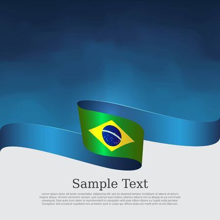 Brazil flag background. Wavy ribbon color flag of brazil on blue white background. National poster. Vector banner design. State patriotic flyer, cover