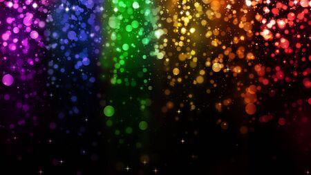 LGBT color bokeh festive background with shiny falling particles, rainbow colorful abstract graphic for bright design. Gay lesbian transgender sparkling rainbow background