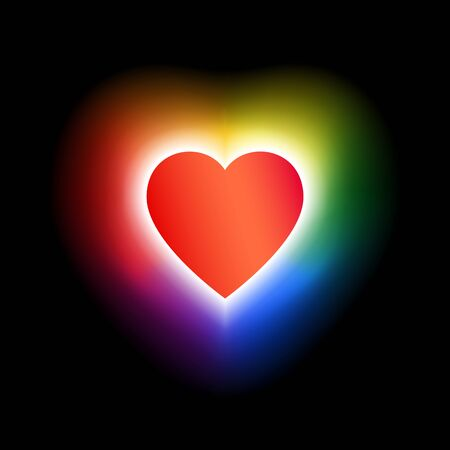 Coming out lgbt icon - rainbow shining heart. Symbol of freedom of lesbian, gay, bisexual, transgender. Concept coming out LGBT - heart glows with rainbow colors lgbtq, t shirt vector illustration