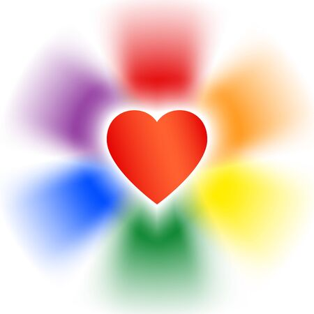 Concept coming out LGBT - heart glows with rainbow colors lgbtq. Coming out lgbt icon - rainbow shining heart. Symbol of freedom of lesbian, gay, bisexual, transgender, t shirt vector illustration Stockfoto - 134330042