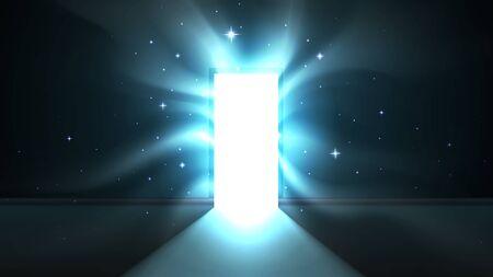 Luce dalla porta aperta di una stanza buia, attraenti tentacoli di luce ipnotica, uscita mistica astratta incandescente. Modello di porta aperta, sfondo, mock up