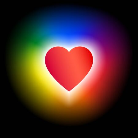 Concept coming out LGBT - heart glows with rainbow colors lgbtq. Symbol of freedom of lesbian, gay, bisexual, transgender. Coming out lgbt icon - rainbow shining heart, t shirt vector illustration